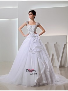 Chapel Train Ball Gown Organza Bowknot Wedding Dress