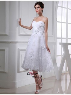 A-Line/Princess Sweetheart Organza Taffeta Wedding Dress
