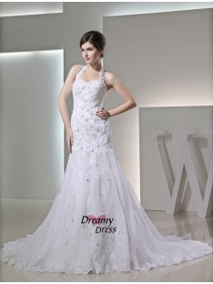 Mermaid Halter Satin Wedding Dress