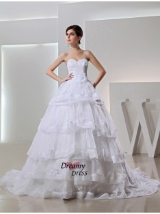 Ball Gown Chapel Train Organza Sweetheart Wedding Dress