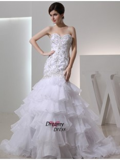 Mermaid Sweetheart Organza Wedding Dress