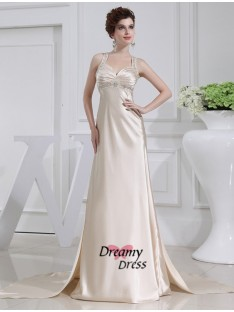 A-Line Elastic Woven Satin Dress