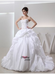 Ball Gown Chapel Train Taffeta Wedding Dress