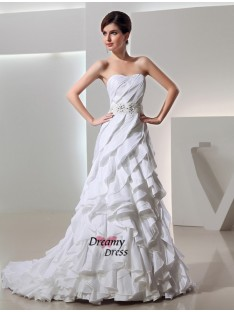A-Line/Princess Court Train Sweetheart Taffeta Wedding Dress