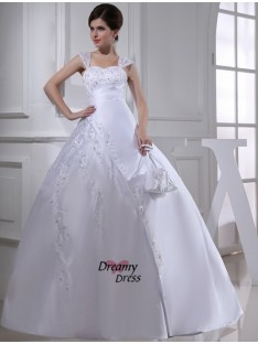 Ball Gown Straps Court Train Satin Wedding Dress