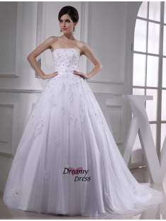Ball Gown Strapless Satin Tulle Wedding Dress