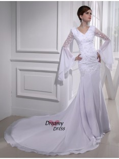 Mermaid V-neck Chiffon Chapel Train Wedding Dress