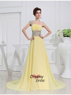 A-Line One-shoulder Appliques Chiffon Dress