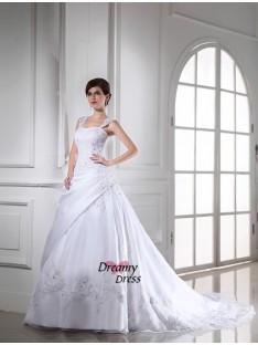 Ball Gown Chapel Train Satin Organza Wedding Dress