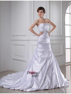 Mermaid Strapless Elastic Woven Satin Wedding Dress