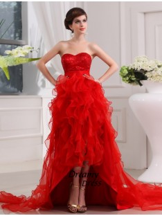 A-Line Sequin Sweetheart High Low Organza Dress