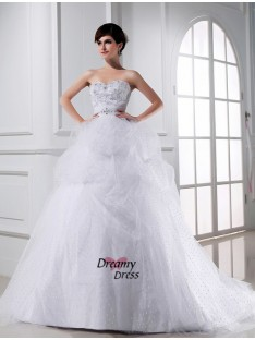 Ball Gown Sweetheart Satin Tulle Wedding Dress