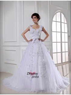 Ball Gown Chapel Train Satin Tulle Strapless Wedding Dress
