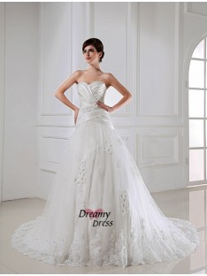 A-Line/Princess Sweetheart Satin Tulle Wedding Dress