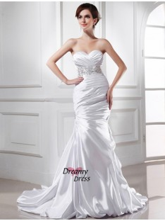 Mermaid Sweetheart Elastic Woven Satin Wedding Dress