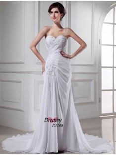 Mermaid Sweetheart Chiffon Chapel Train Wedding Dress