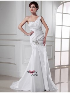 Mermaid One-shoulder Satin Sweep/Brush Train Wedding Dress