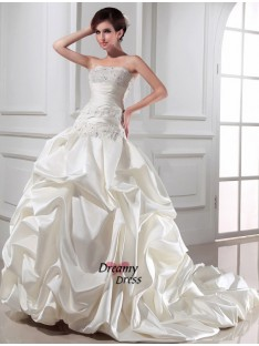 Ball Gown Strapless Chapel Train Satin Wedding Dress