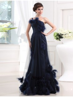 Mermaid One-shoulder Long Satin Tulle Dress