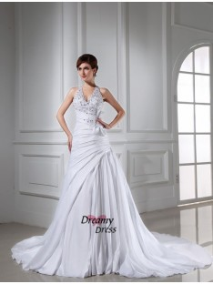 A-Line/Princess Halter Chapel Train Taffeta Wedding Dress