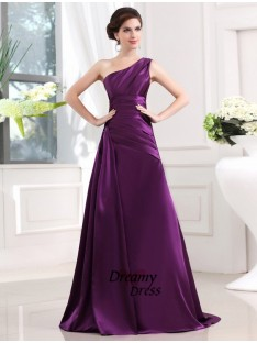 A-Line One-shoulder Elastic Woven Satin Long Dress