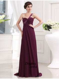 A-Line One-shoulder Sweetheart Chiffon Long Dress