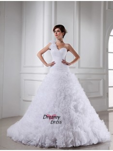 Ball Gown One-shoulder Sweetheart Chapel Train Organza Wedding Dress