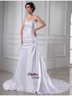 A-Line/Princess Elastic Woven Satin Wedding Dress