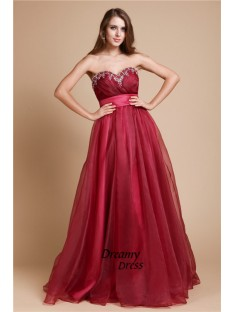 A-Line Sweetheart Long Organza Dress