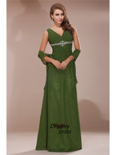 Sheath V-neck Long Chiffon Mother of the Bride Dress