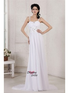 Sheath/Column Spaghetti Strap Court Train Chiffon Wedding Dress