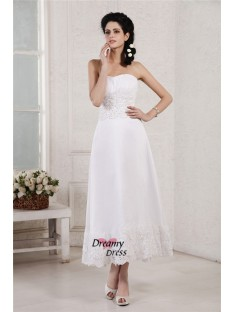 A-Line/Princess Strapless Tea-Length Chiffon Wedding Dress