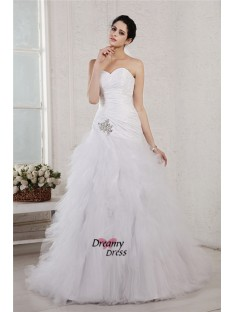 A-Line/Princess Sweetheart Court Train Taffeta Net Wedding Dress