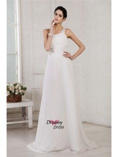 A-Line/Princess One-Shoulder Sweep/Brush Train Chiffon Wedding Dress