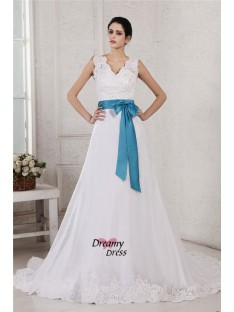 A-Line/Princess V-neck Sash Chapel Train Organza Satin Wedding Dress