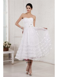 A-Line/Princess Strapless Tea-Length Organza Taffeta Wedding Dress