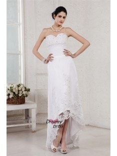 Sheath/Column Sweetheart Asymmetrical Organza Wedding Dress