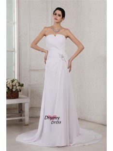 Sheath/Column Strapless Court Train Chiffon Wedding Dress