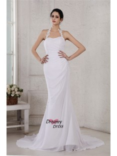 Mermaid Halter Court Train Chiffon Wedding Dress