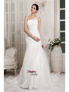 Mermaid One-Shoulder Chapel Train Organza Wedding Dress