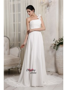 Sheath/Column One-Shoulder Chapel Train Chiffon Wedding Dress