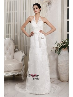 Sheath/Column V-neck Lace Sweep/Brush Train Net Wedding Dress
