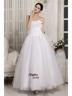 Ball Gown Sweetheart Ankle-Length Organza Wedding Dress