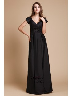 Sheath V-neck Long Taffeta Dress