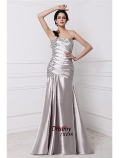 A-Line Sweetheart Long Elastic Woven Satin Dress