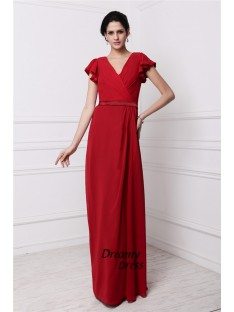 Sheath V-neck Long Chiffon Bridesmaid Dress