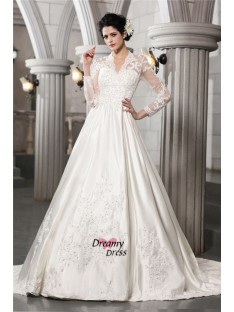 A-Line/Princess Long Sleeves Chapel Train Satin Wedding Dress
