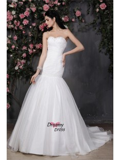 Mermaid Sweetheart Chapel Train Organza Wedding Dress