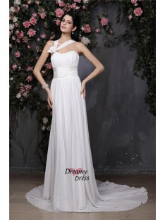 Sheath/Column Halter Chapel Train Chiffon Wedding Dress