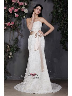 Sheath/Column Strapless Sash Court Train Lace Wedding Dress